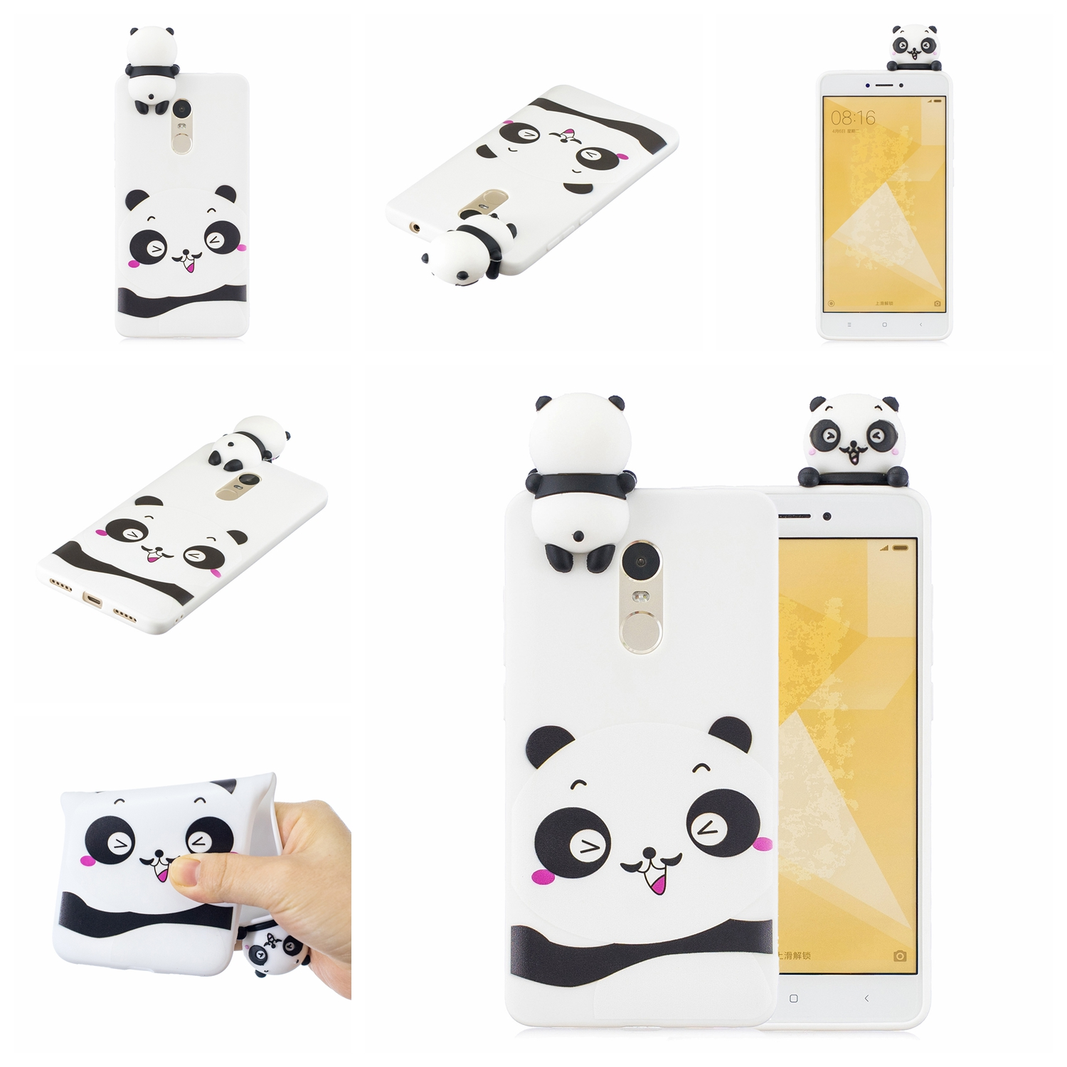 For XIAOMI Redmi NOTE 4X/NOTE 4 3D Cute Coloured Painted Animal TPU Anti-scratch Non-slip Protective Cover Back Case white