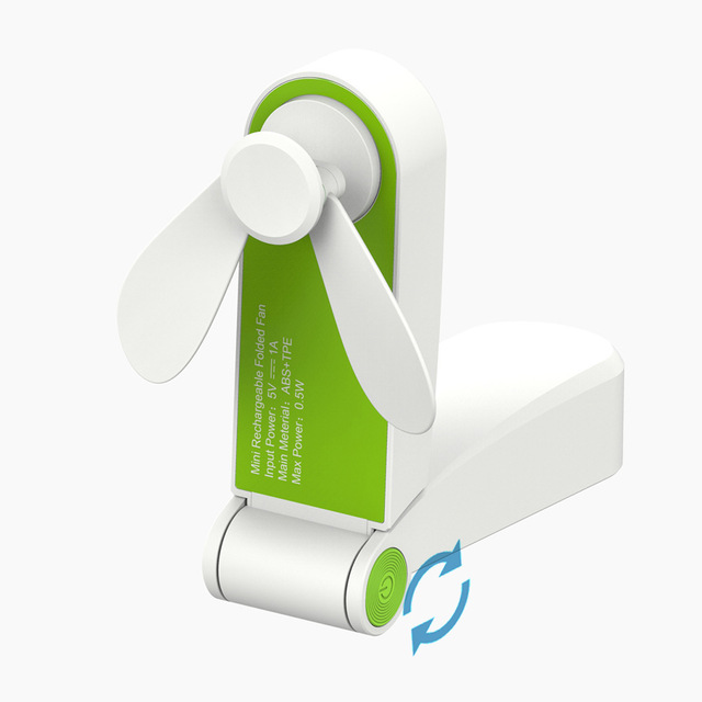 Usb Rechargeable Mini Folding Fans Electric Portable Desktop Electric Fan green