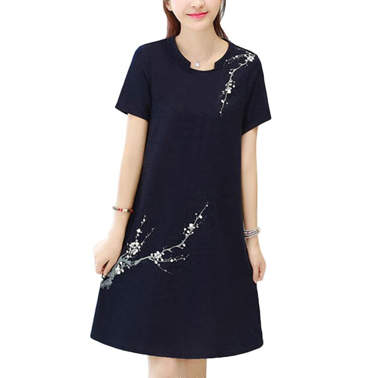 Women Casual Loose Flower Printing Short Sleeve Dress blue_XL