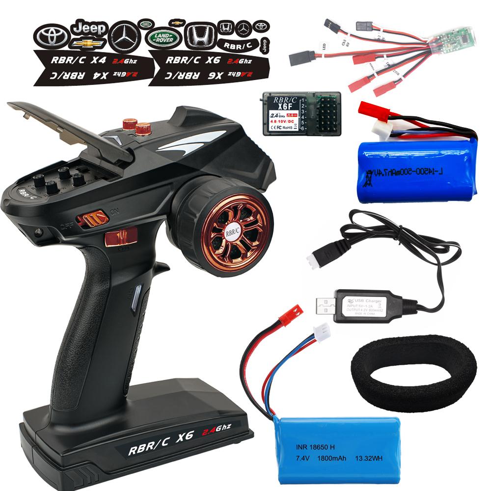 RBR/C X6 2.4G 6CH Transmitter +X6F Receiver+10A ESC for JJRC Q65 MN90 1/10 1/8 Crawler TRX4 Axial SCX10 D90 RC Car Boat default