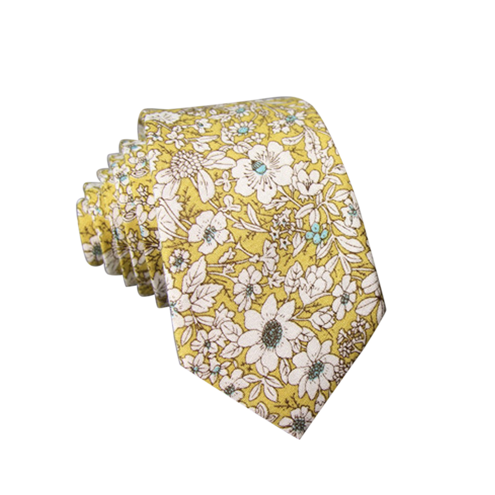 Men's Wedding Tie Floral Cotton Necktie Birthday Gifts for Man Wedding Party Business Cotton printing-010