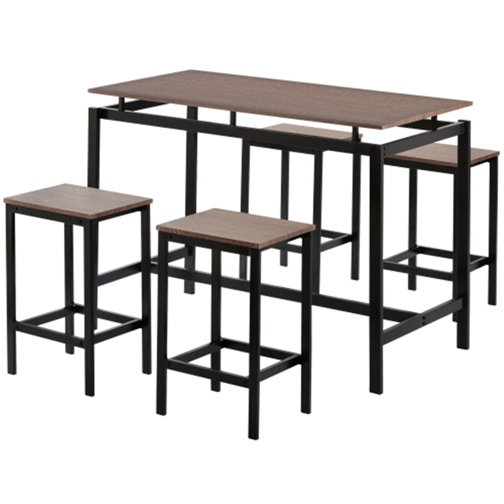 [US Direct] 5pcs/set MDF+PVC Kitchen Table Set High Table Industrial Dining Table With 4 Chairs Dark brown