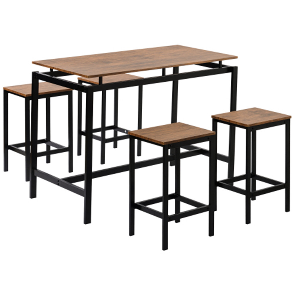 [US Direct] 5Pcs/ Set MDF+PVC Trexm 5-piece Kitchen  Counter High Table Industrial Dining Table With 4 Chairs brown