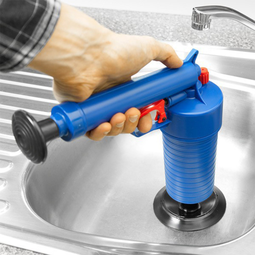 Household Air-pressure Type Toilet Dredging Device Drain Sink Pipe Clog Remover Bathroom Kitchen Cleaner Kit blue_35*25