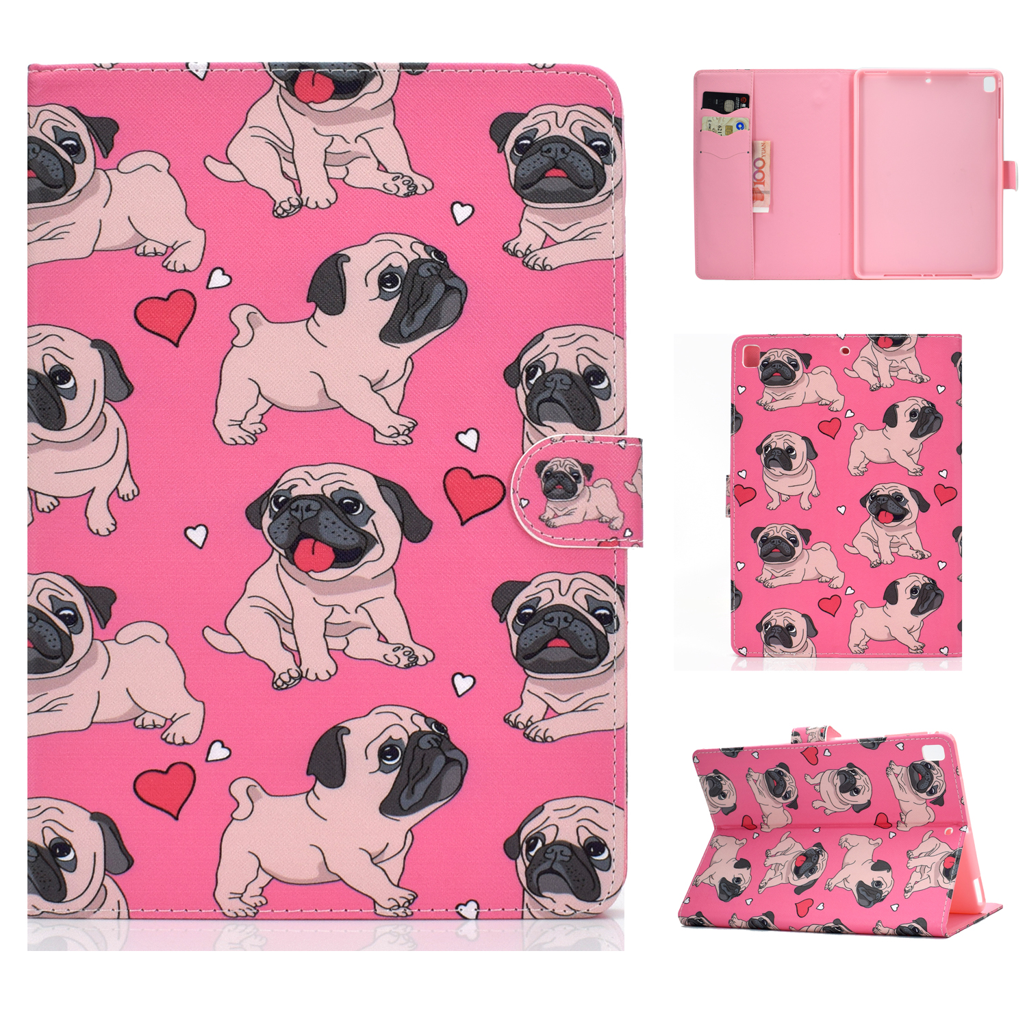 For iPad 5/6/7/8/9-iPad Pro9.7-iPad 9.7 Laptop Protective Case Color Painted Smart Stay PU Cover Caring dog
