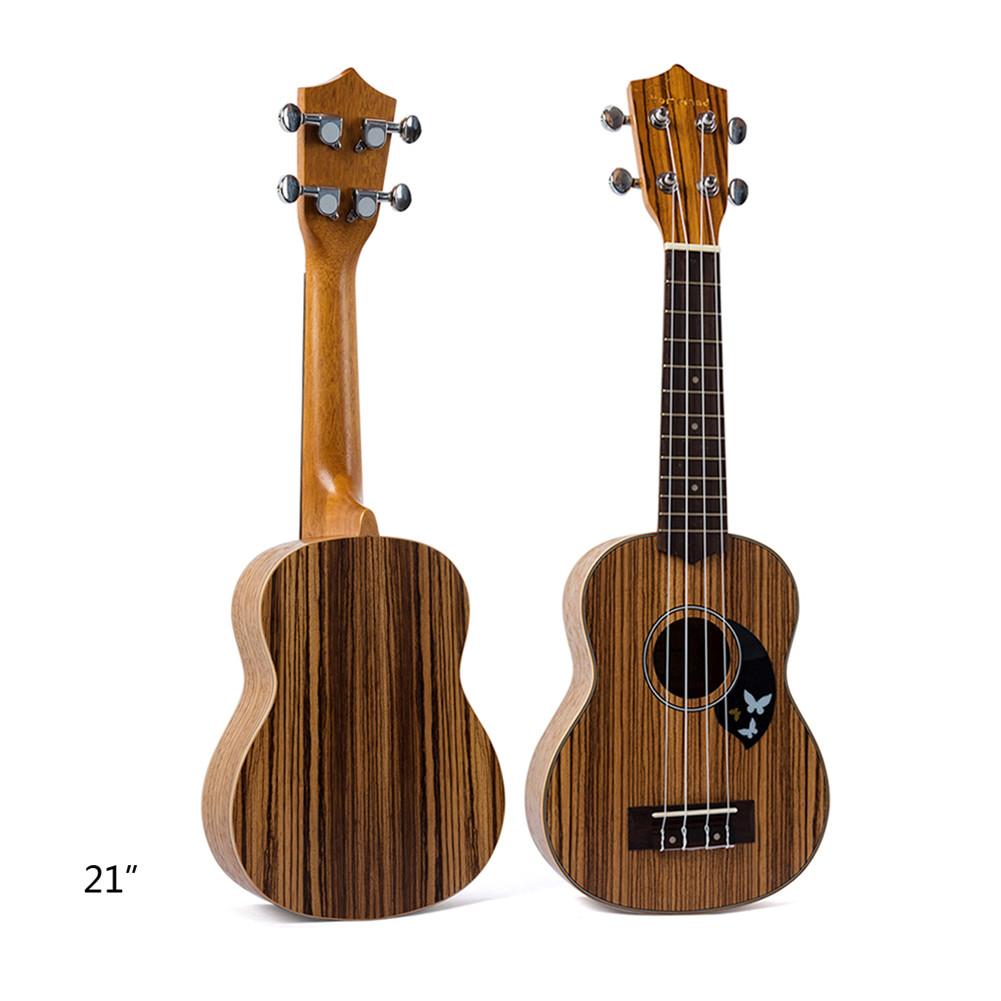 21-Inch Four String Ukulele Zebra Wood With Fender For Guitar Instrument