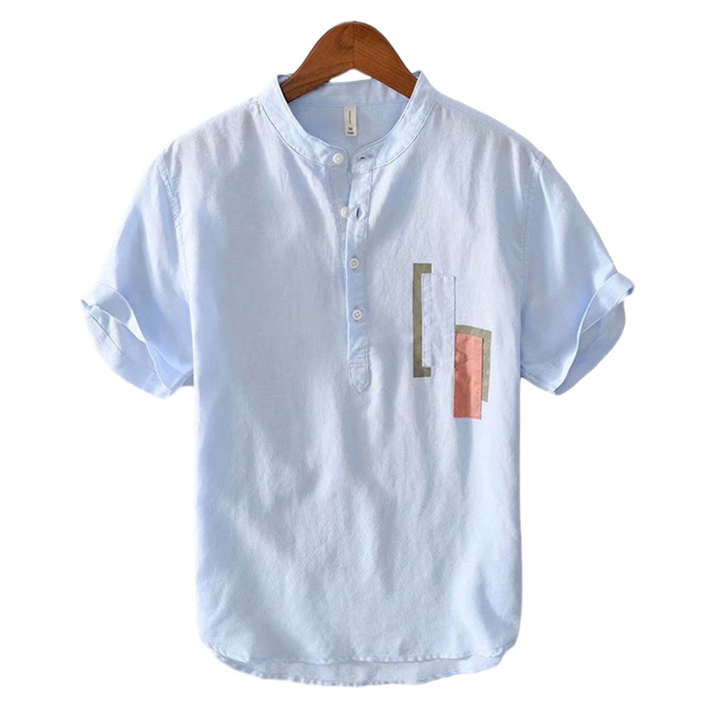 Men Cotton Linen T Shirt Summer Lapel Thin Retro Casual Middle Sleeve Tops Blue_L