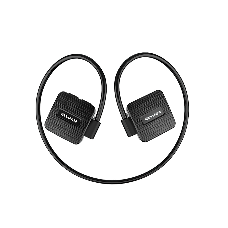 AWEI A848BL Waterproof Bluetooth Headphones with Microphone Stereo Wireless Headset Music Earphones Sports Earbuds Black