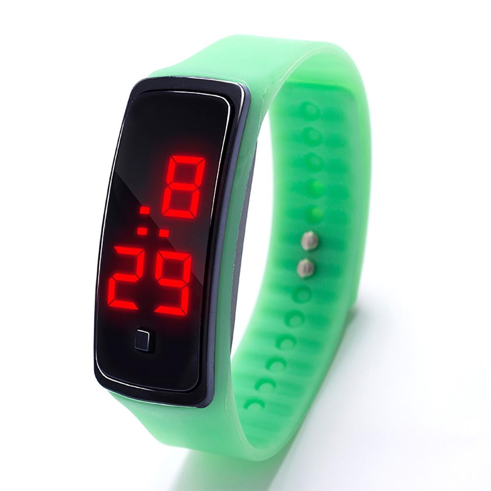 LED Digital Display Bracelet Watch Children's Students Silica Gel Sports Watch Mint Green