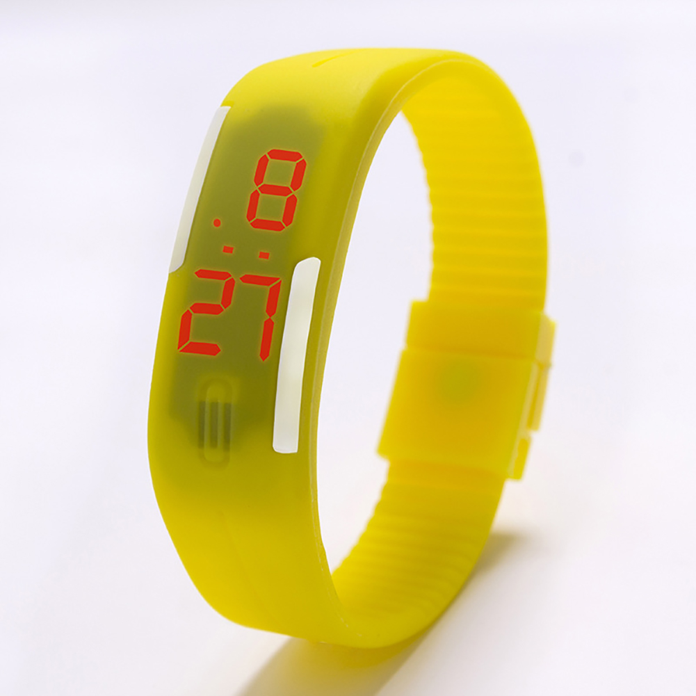 Fashion Top Brand Luxury Unisex Men's Watch Silicone Red LED Sport Watch Touch  yellow