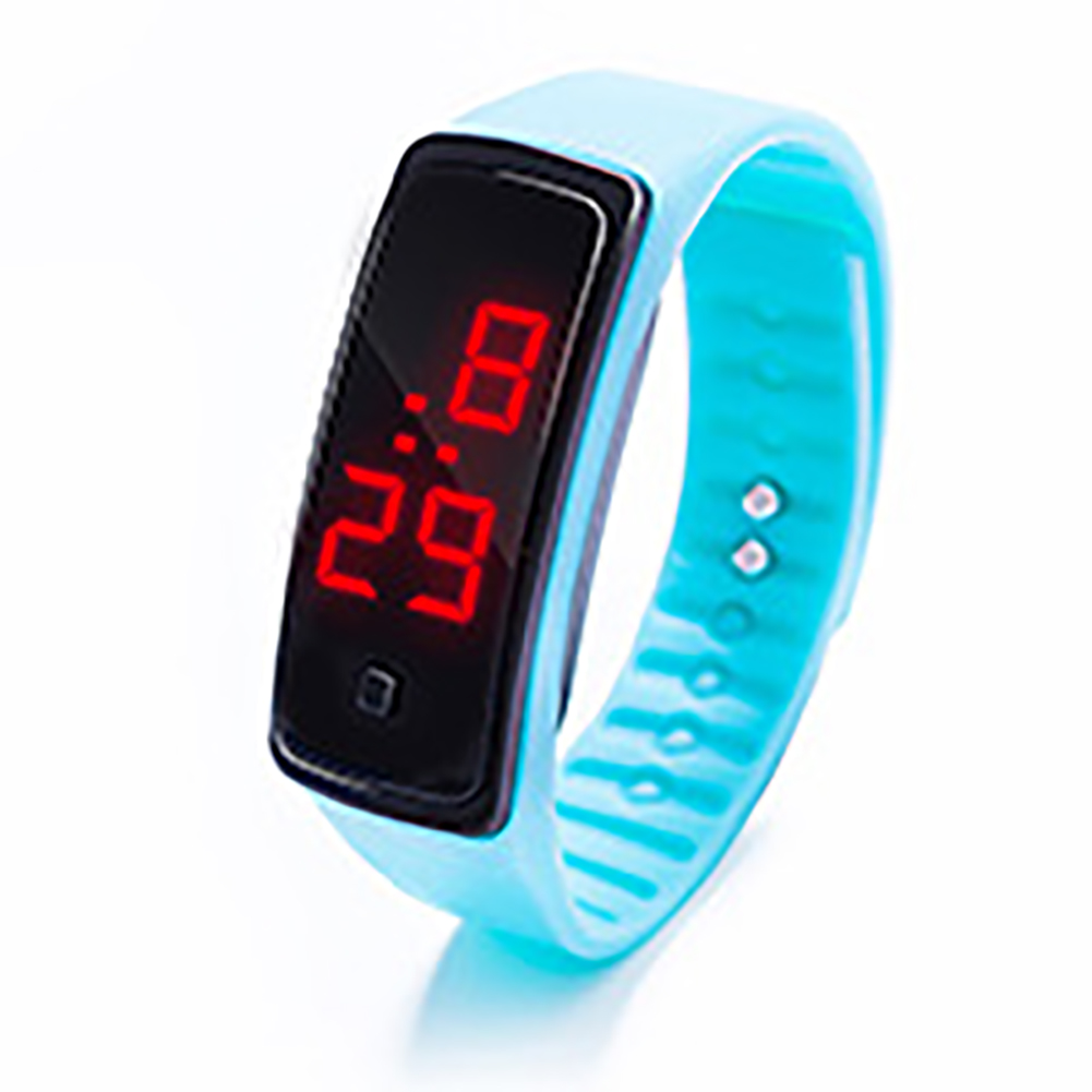 LED Digital Display Bracelet Watch Children's Students Silica Gel Sports Watch Lake blue