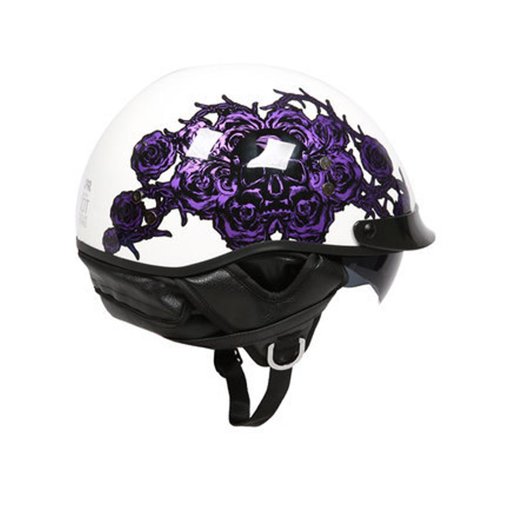 Retro Helemt Half Face Motorcylce Hat FRP Prince Helmet Bright white deep purple rose M