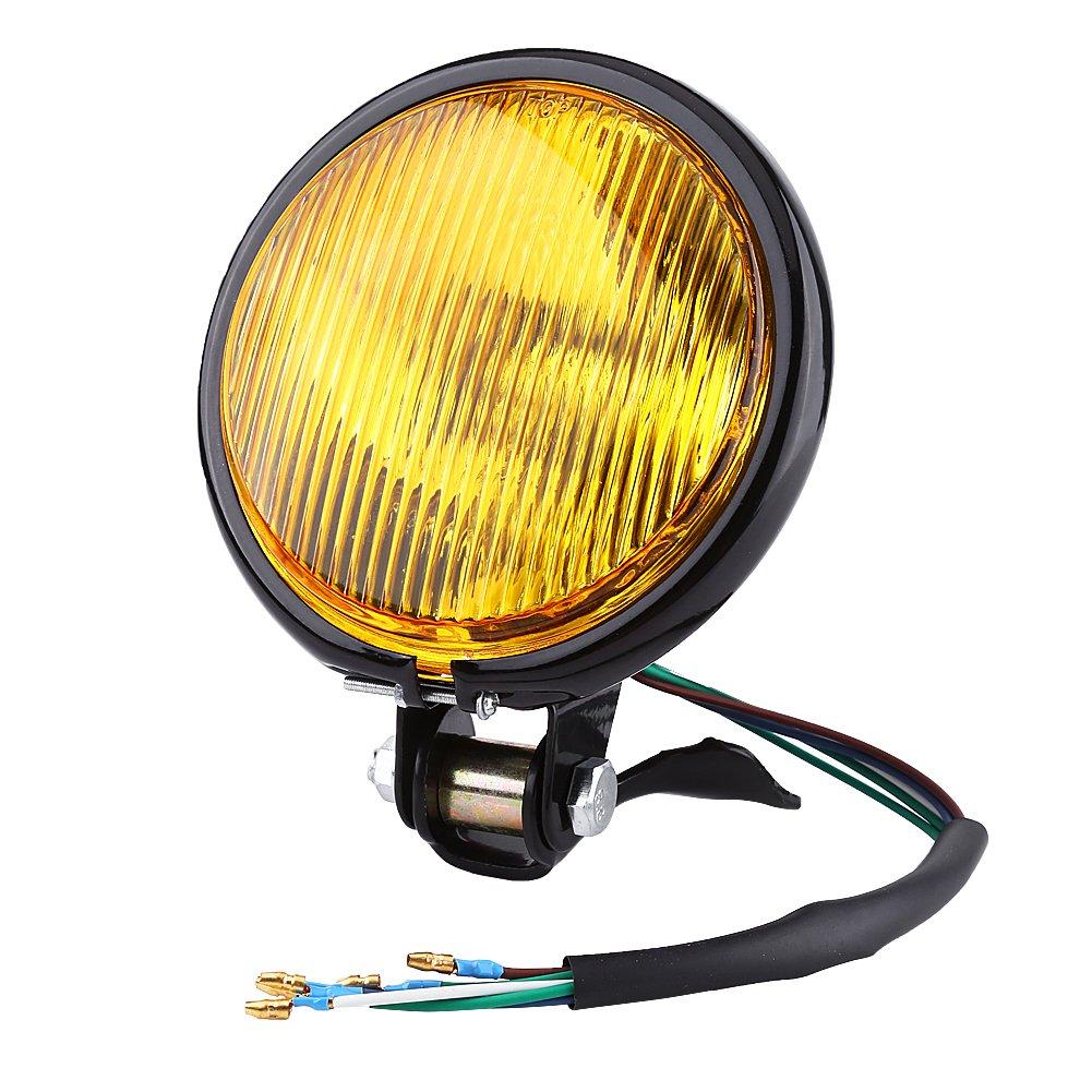 Chrome Motorcycle Headlight Yellow Cafe Racer Head Light Decorative Metal Lights Lighting Modified Motorbike Rear Light black