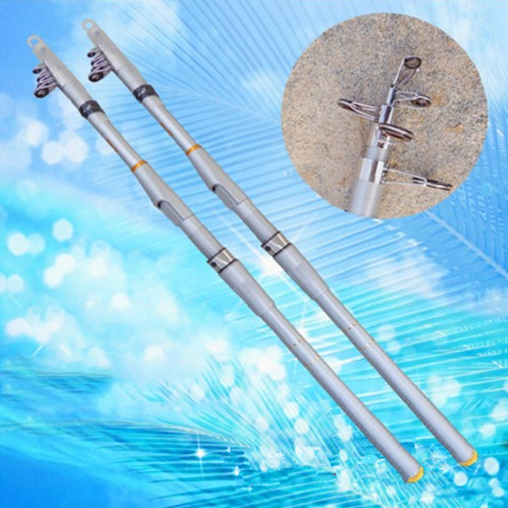 Carp Fishing Rod Hard GRP Carbon Fiber Telescopic Fishing Rod Fishing Pole Silver white