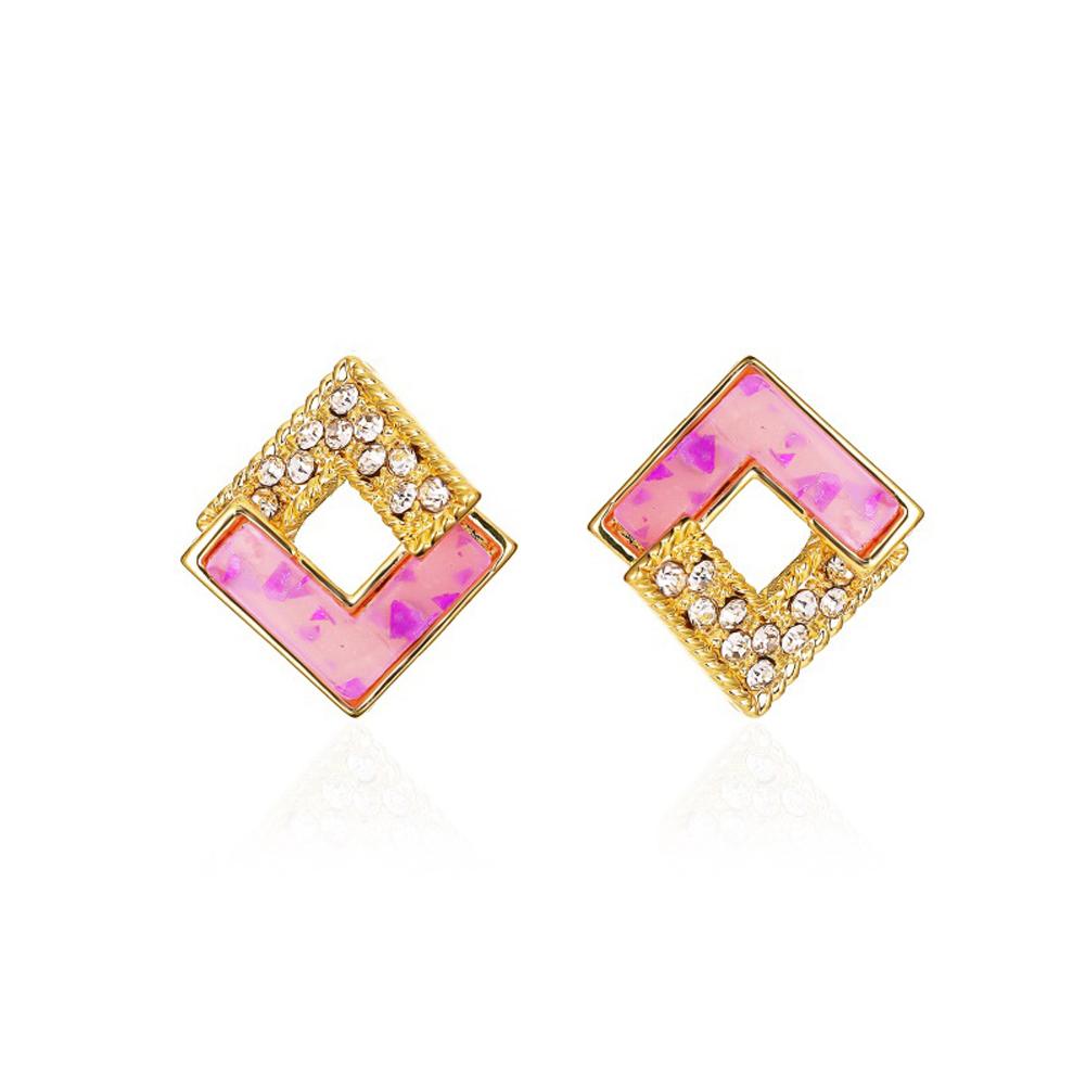 1 Pair of Women's Earrings S925 Silver Needle Geometric Stitching Double V-shaped Diamond-mounted Earrings 02 purple
