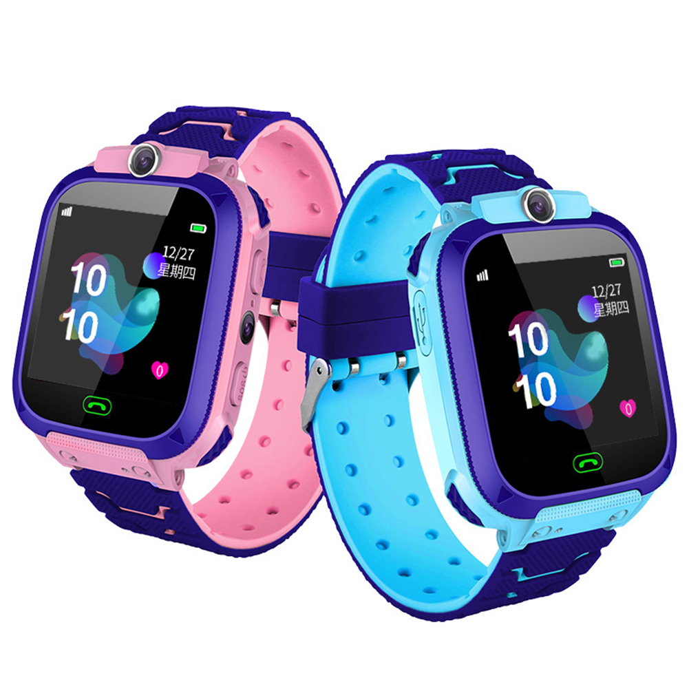 Fashion Life Waterproof Smart Phone Telephone Positioning Watch for Student Children Kids Blue English