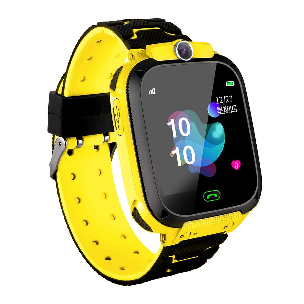 Fashion Life Waterproof Smart Phone Telephone Positioning Watch for Student Children Kids Yellow English