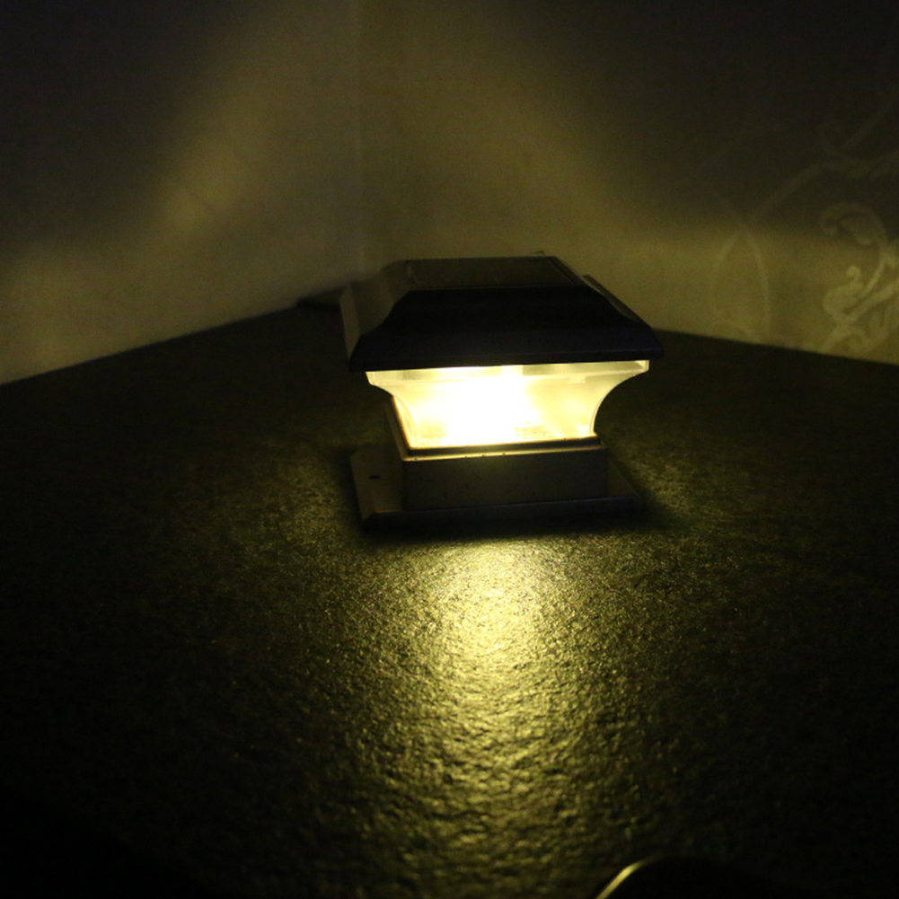 Waterproof Solar Pillar Lamp for Outdoor Gate Fence Wall Courtyard Cottage Park  Warm yellow light