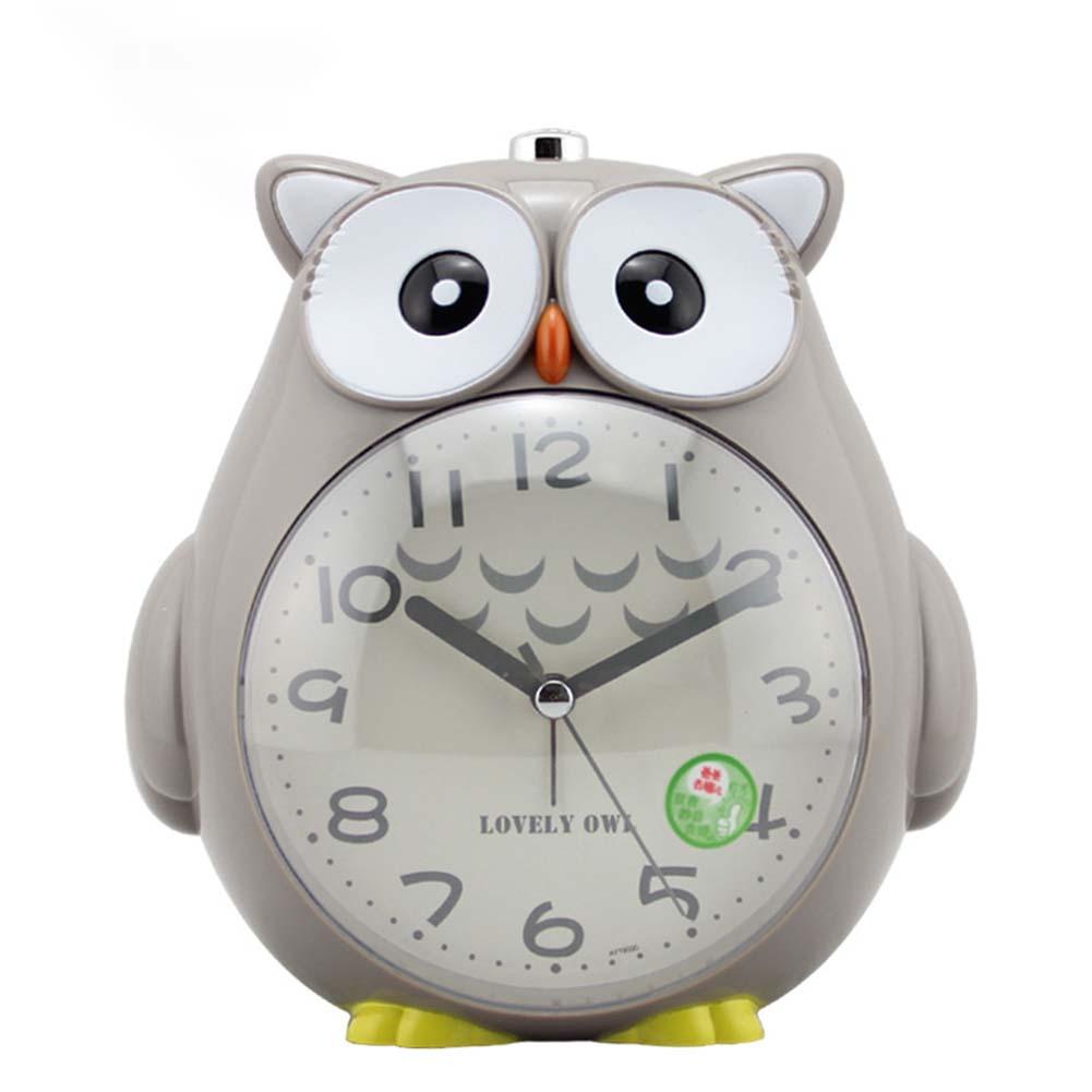 4 Inches Cute Cartoon Owl Shape Alarm Clock Silent Night Light Student Kids Alarm Clock gray