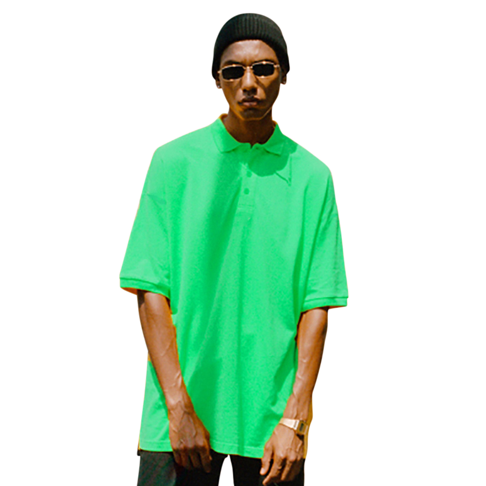 Men Women Solid Color Short-sleeved T-shirts green_XXL