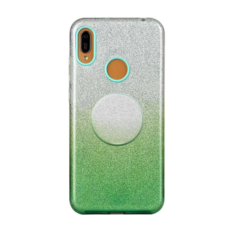 for HUAWEI P20 LITE/P30 LITE/P40 LITE/Nova6SE/Nova 7i Phone Case Gradient Color Glitter Powder Phone Cover with Airbag Bracket green