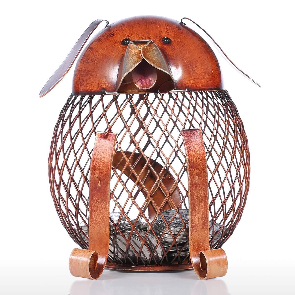 Iron  Piggy/Chick/Dog  Bank Coin  Storage Case Home Decoration Animal Figure Iron Art Fortune Dog Piggy Bank
