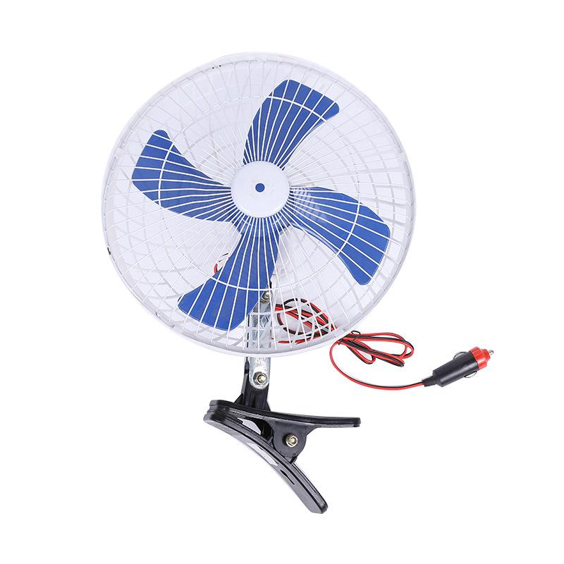 Car Fan 10 Inch Fan 12v Low Noise Clip-on Car Truck Electric Fan Truck Vehicle Wind Air Cooler Blue_10 inch 4 blades