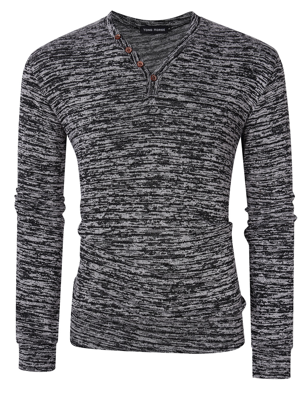 [US Direct] Yong Horse Men's Textured Slim Fit Long Sleeve V Neck Casual Henley Shirt with 4-Button Decor Flower gray_L