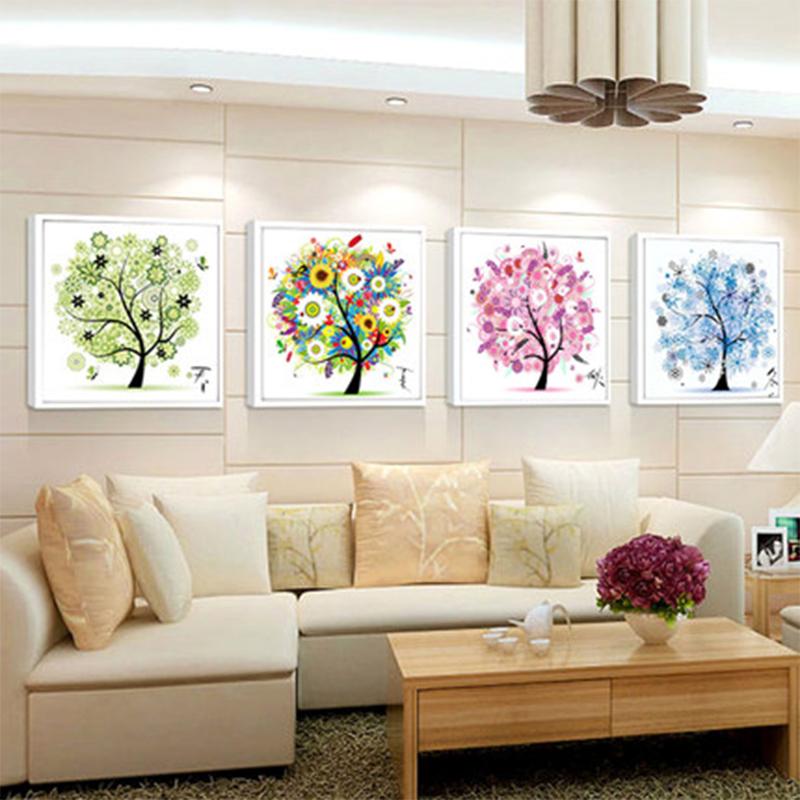[EU Direct] Flower Tree Pattern 4 seasons DIY 5D Diamond Painting Mosaic Round Crystal Cross Stitch Diamond Embroidery Kits, Pack of 4 Home Decoration