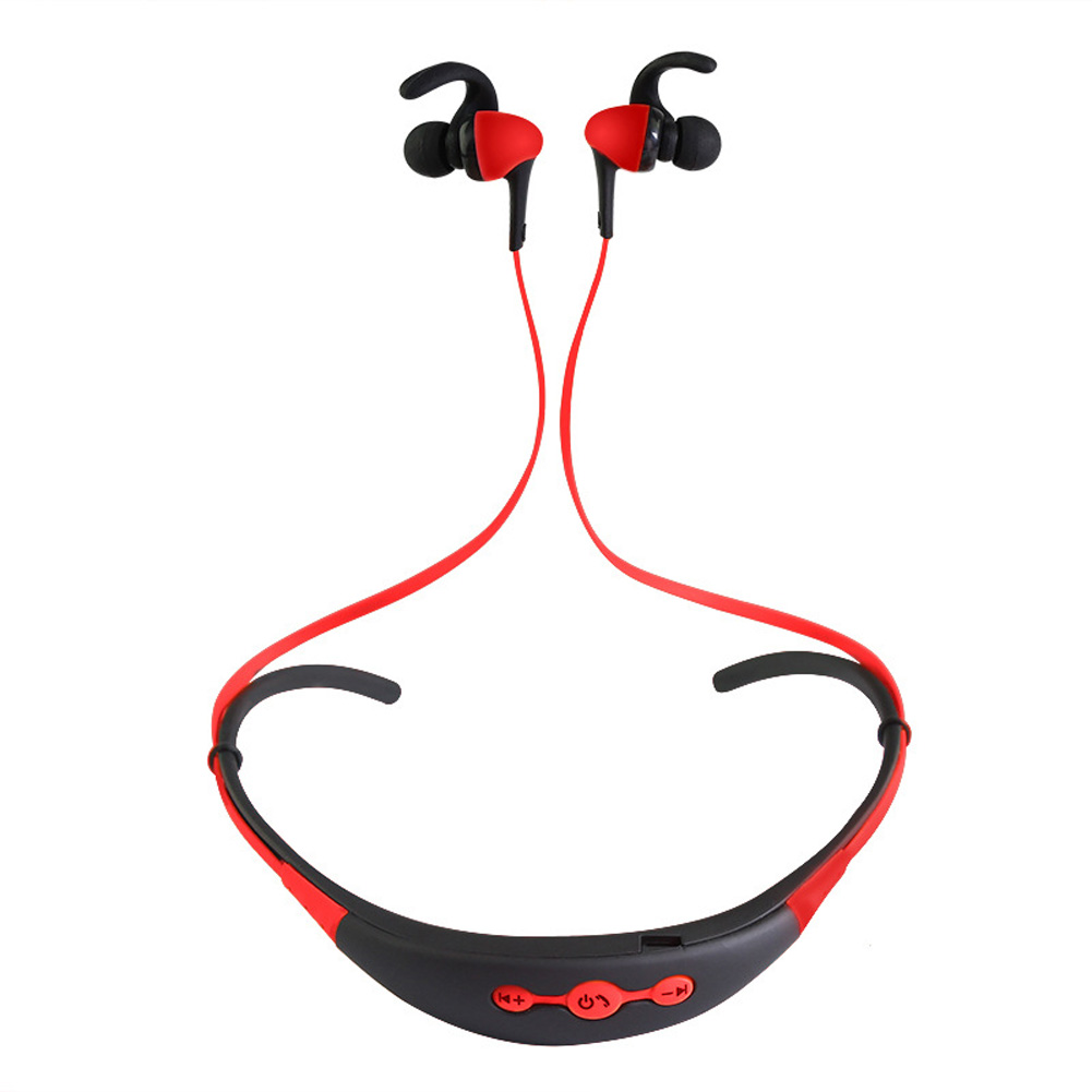 Neck Hanging Sport BT Earphone 4.1 Two in One Stereo Headset red