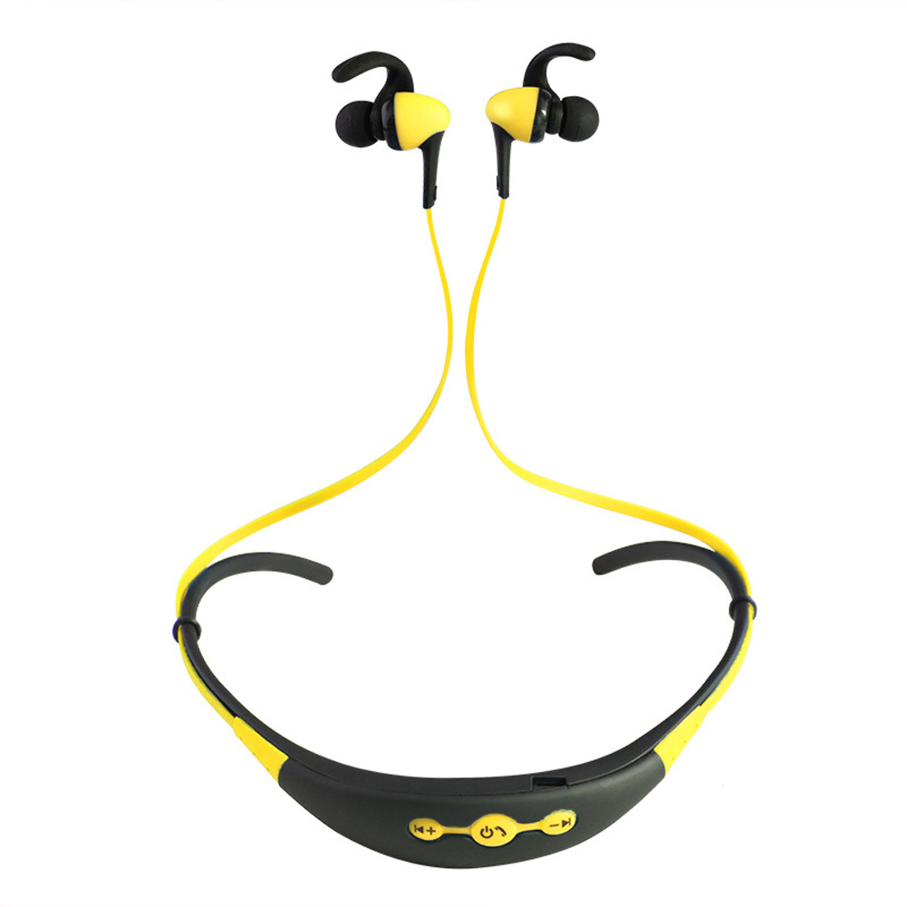 Neck Hanging Sport BT Earphone 4.1 Two in One Stereo Headset yellow