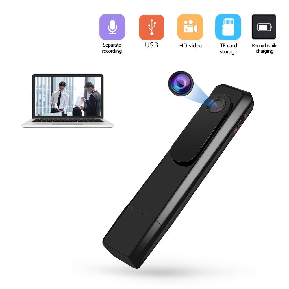 Mini Camera Wearable Full HD 1080P Pen Type Audio Recorder Mini DV Camcorder  black