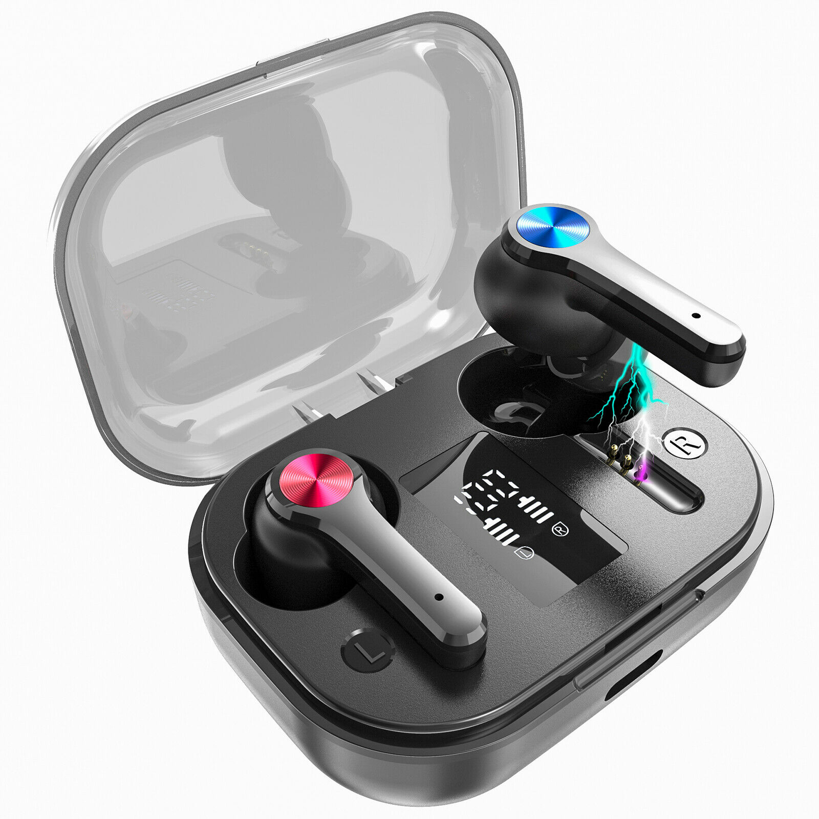Wireless Bluetooth Earbuds TWS 5.0 Earphone Waterproof Sport Intelligent black