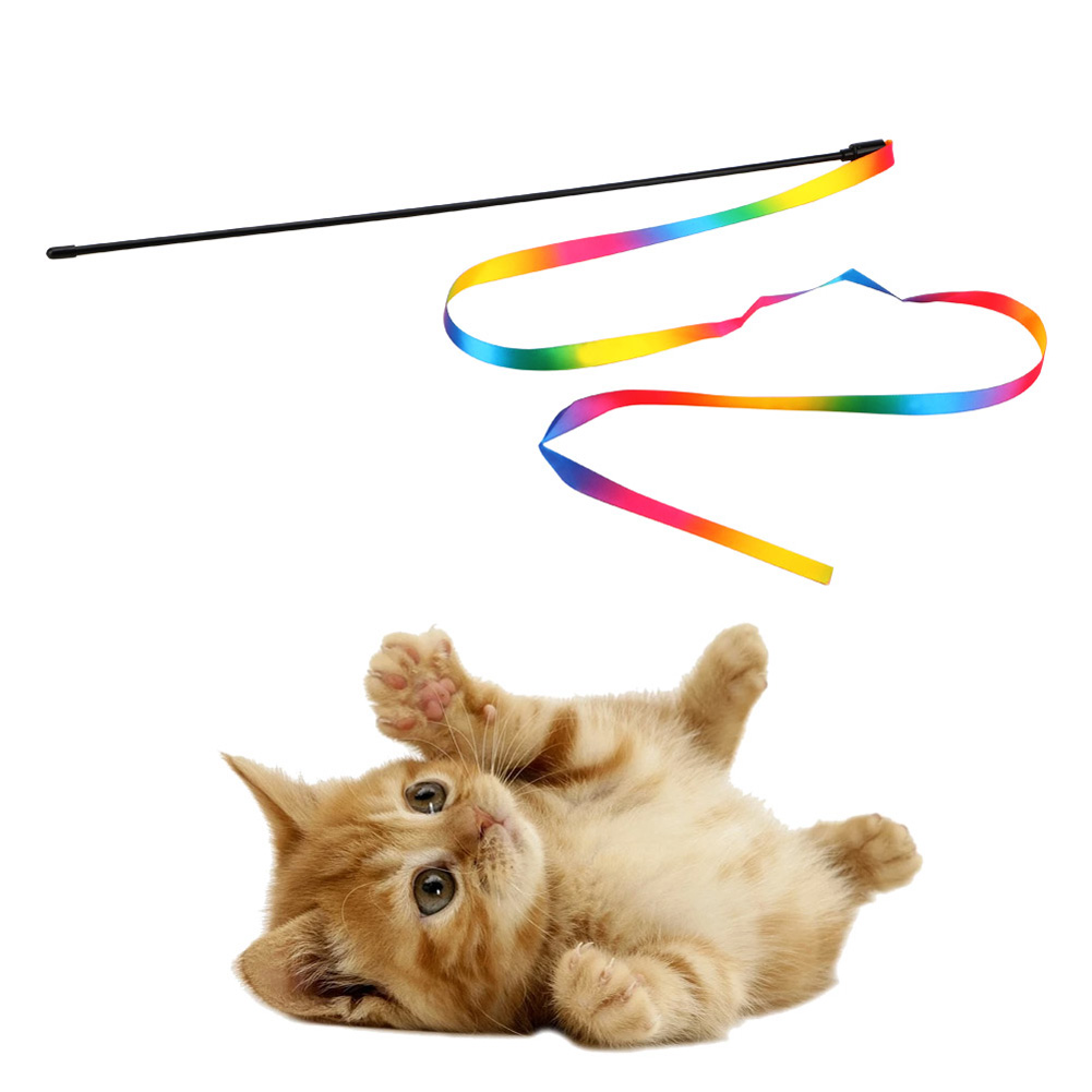 Cats Interactive Stick with Rainbow Cloth Teaser Wand Funny Pet Cat Toy