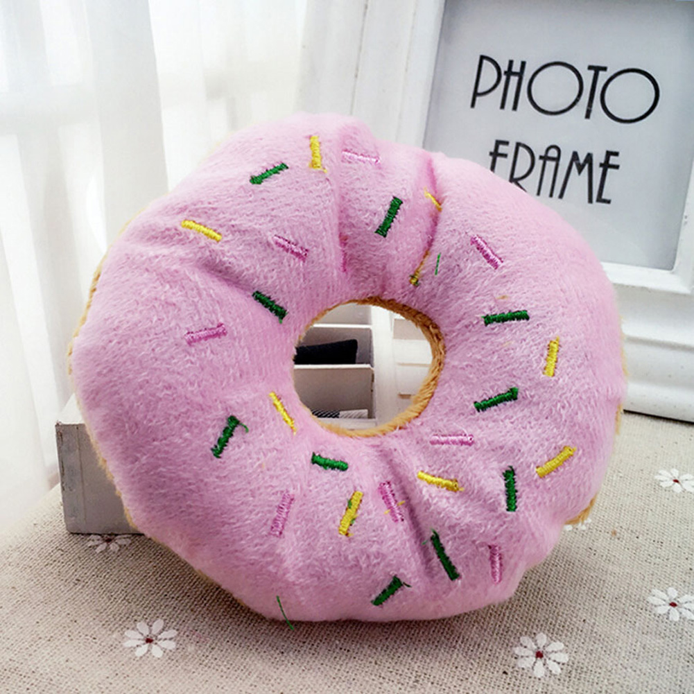 Pet Dog Chew Throw Toys Lovely Squeaker Donut Shape Plush Sound Toy Strawberry