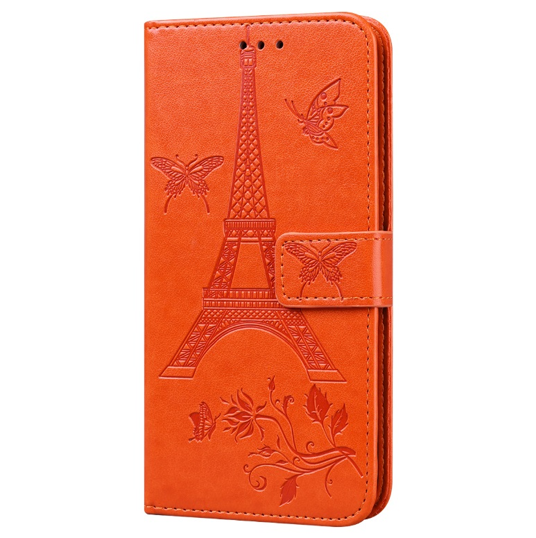 For iPhone12 mini Phone Case 5.4 Inches Card Slot Phone Bracket Mobile Phone Cover Orange