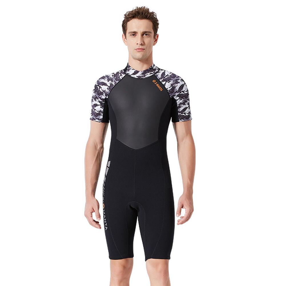 Diving Suit for Men 1.5MM Siamese Short Sleeve Female Surfing Warm Swimwear Male black/white_M