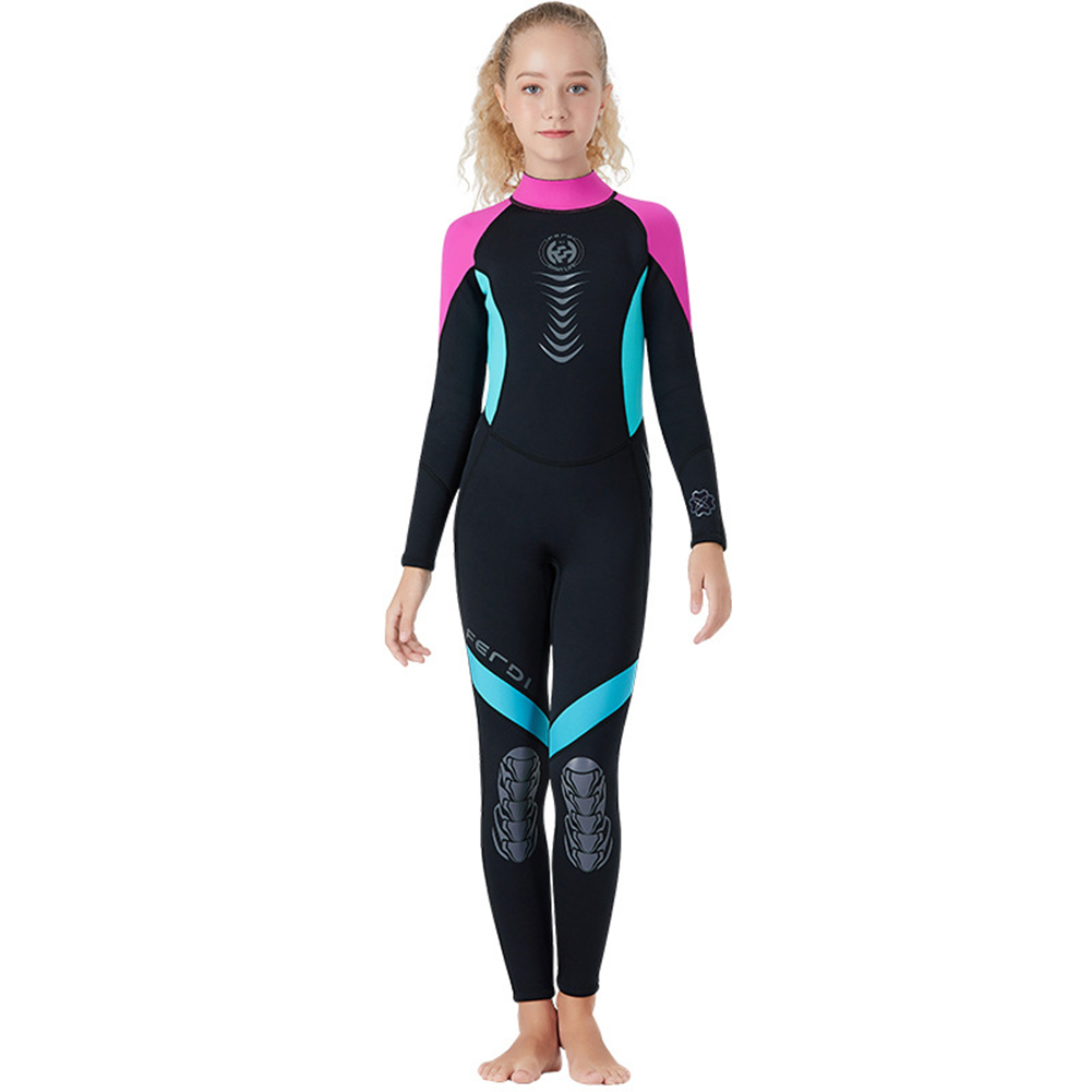Super Elastic Children Diving Suit 2.5MM Siamese Warm Junior Long Sleeve Surfing Suit Pink_L