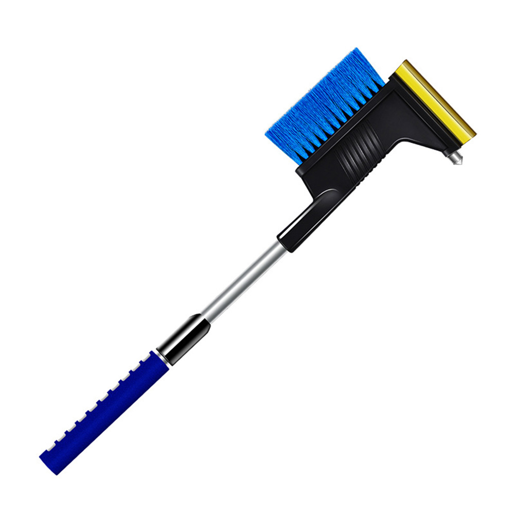 3 in 1 Multi-functional Ice Scraper Window Cleaner Brush Safety Hammer Deicing Shovel blue