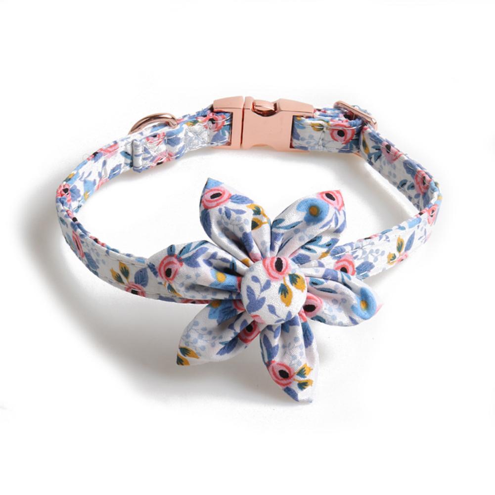Pet  Collar Floral Print Collar With Button Sunflower Design Dog Collar Blue flower