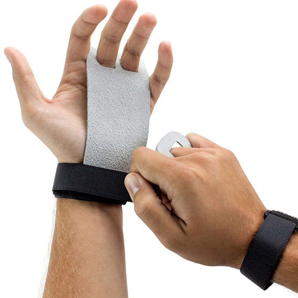 Hand Grip Synthetic Leather Gymnastics Palm Guard Protectors Glove Pull Up Bar Weight Lifting Glove M grey