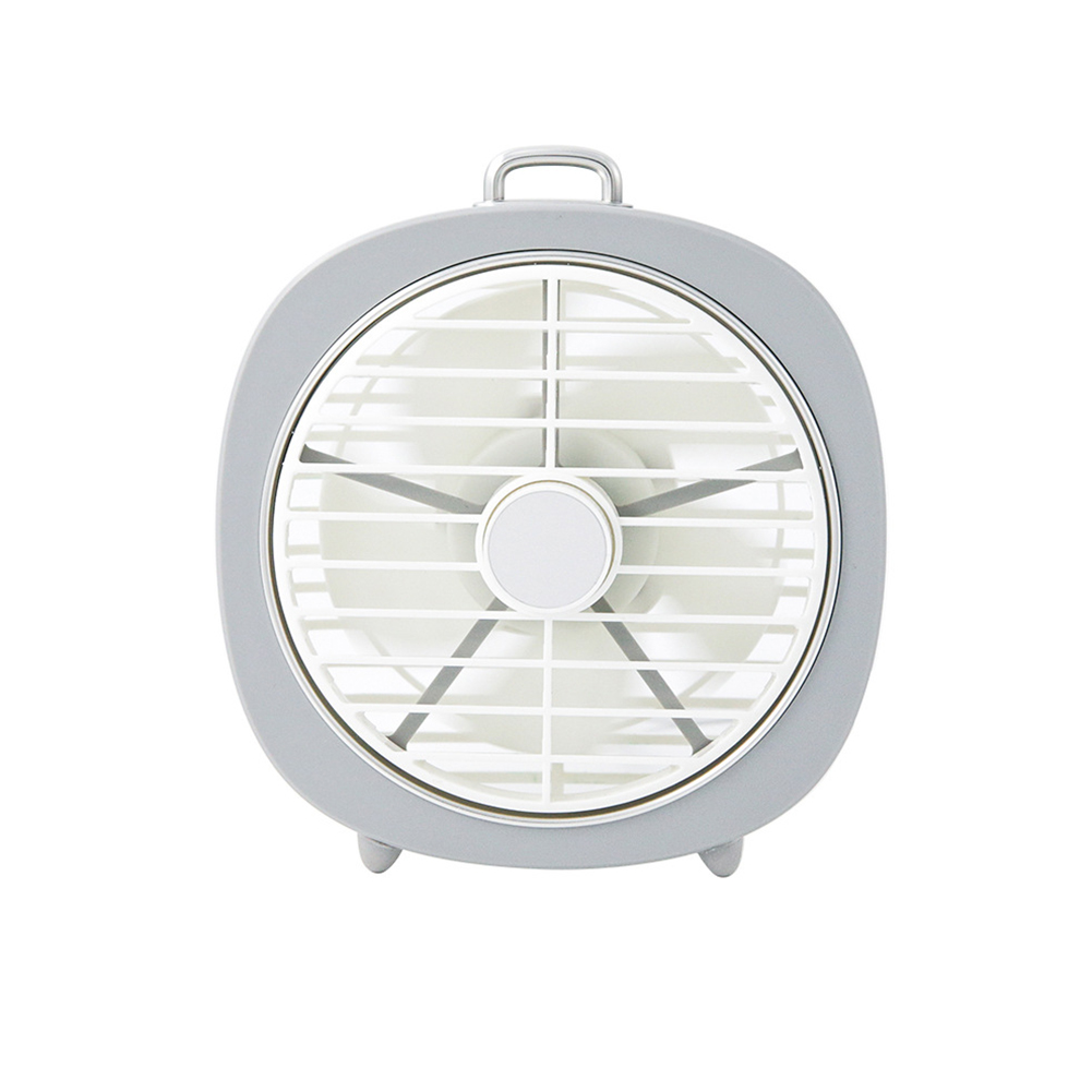 USB Charging Mini Fan with Light for Office Student Dormitory Tabletop Tin white