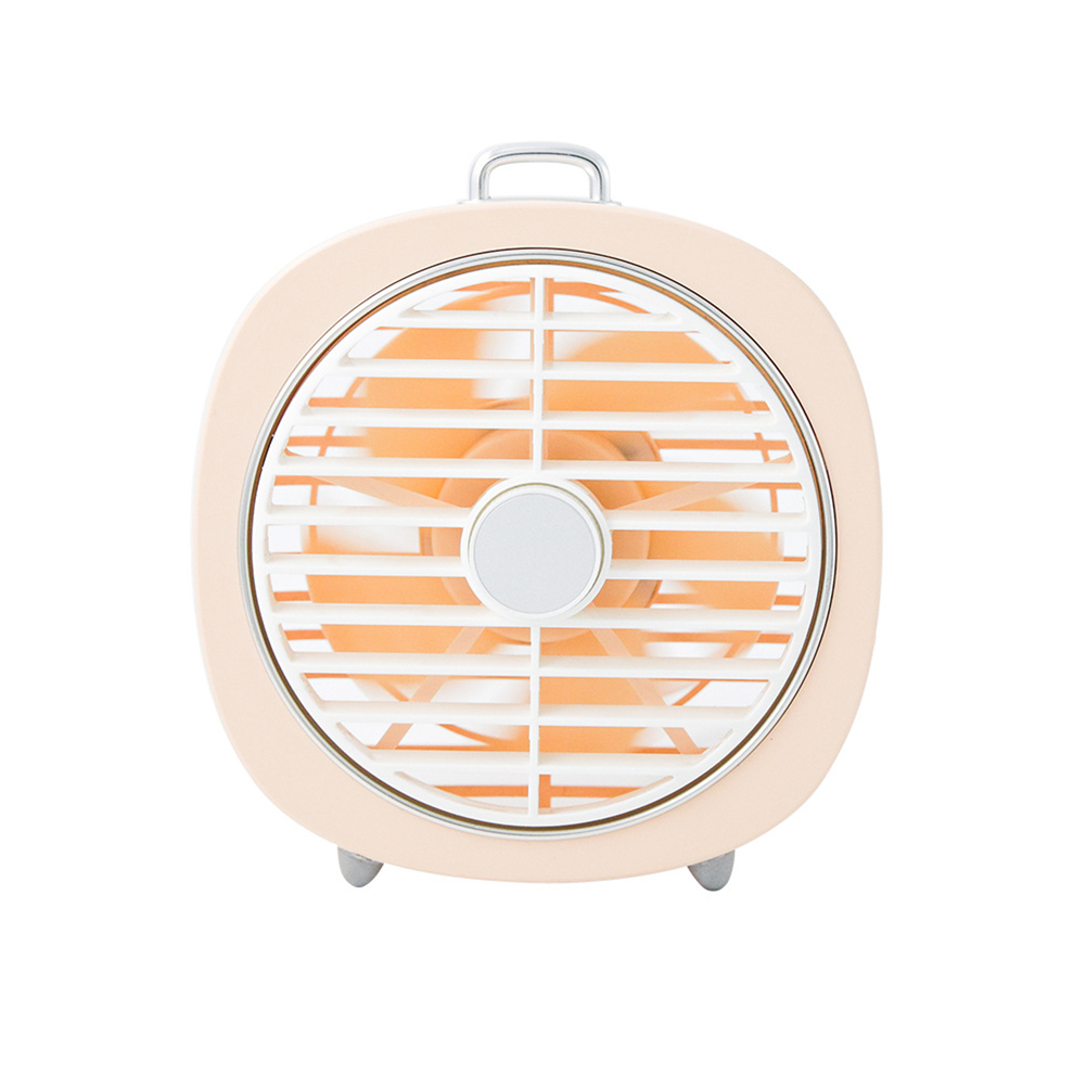 USB Charging Mini Fan with Light for Office Student Dormitory Tabletop Cherry pink