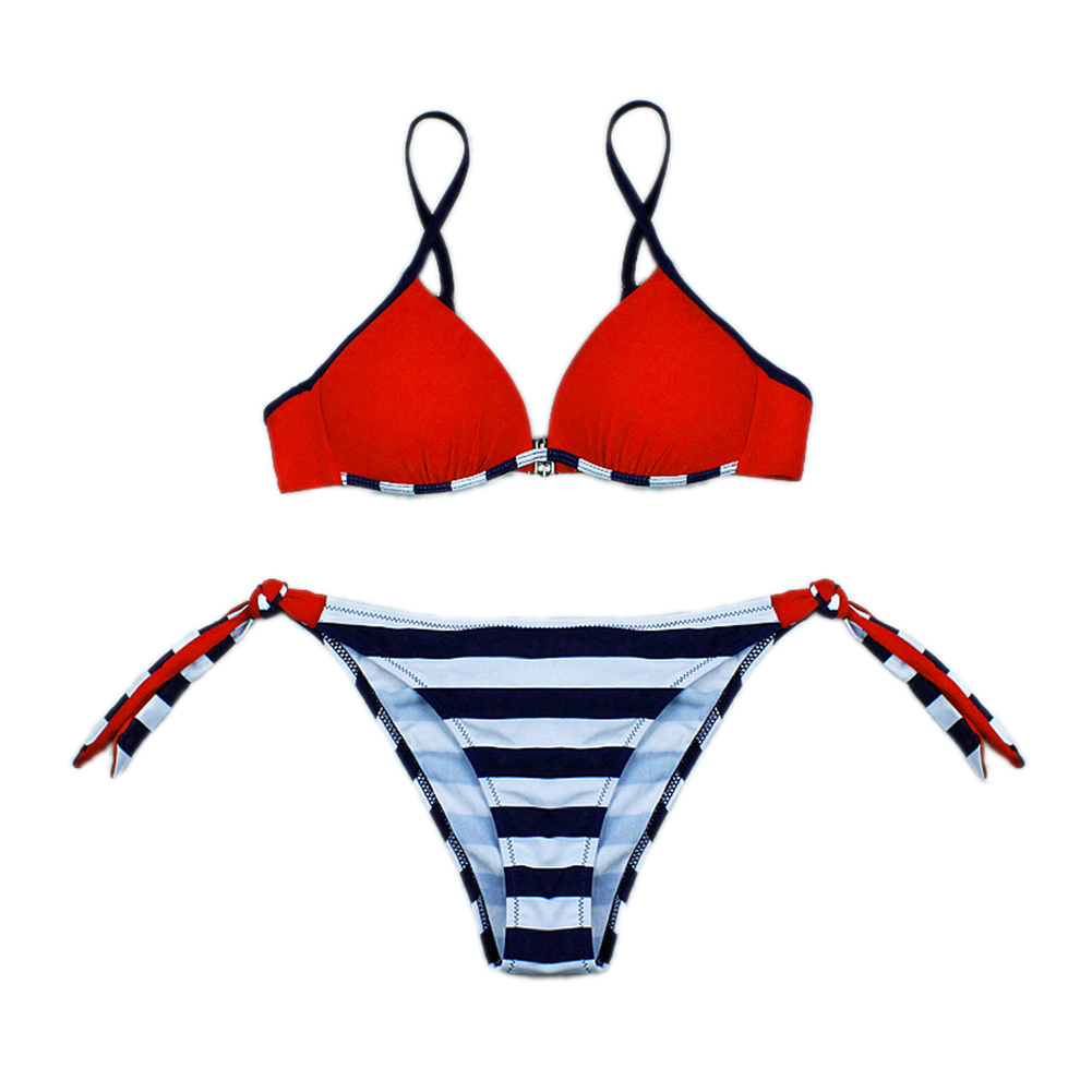 Woman Sexy Bikini Set Lace-up Separated Girls Bathing Suits Strips Swimwear  red_L
