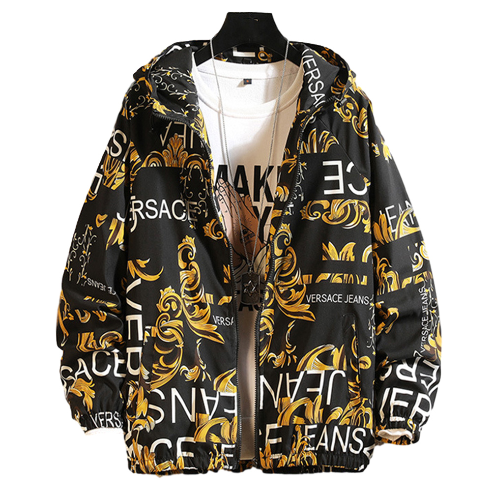 Men's Baseball Jacket Spring and Autumn Loose Large Size Casual Jacket yellow_L