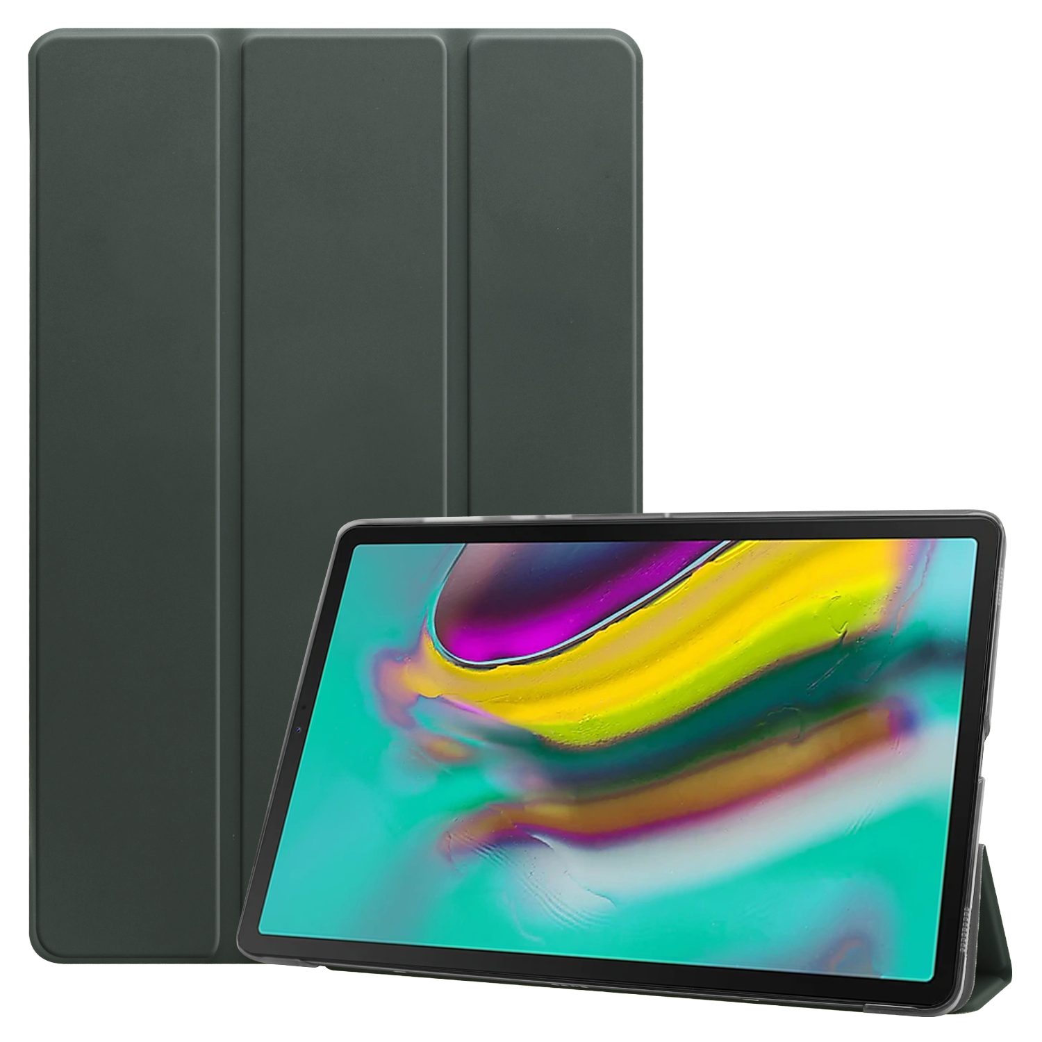 For Samsung Tab S5E 10.5 T720 Ultra-thin PU Leather Bracket Tri-fold Protective Case with Sleep Function gray