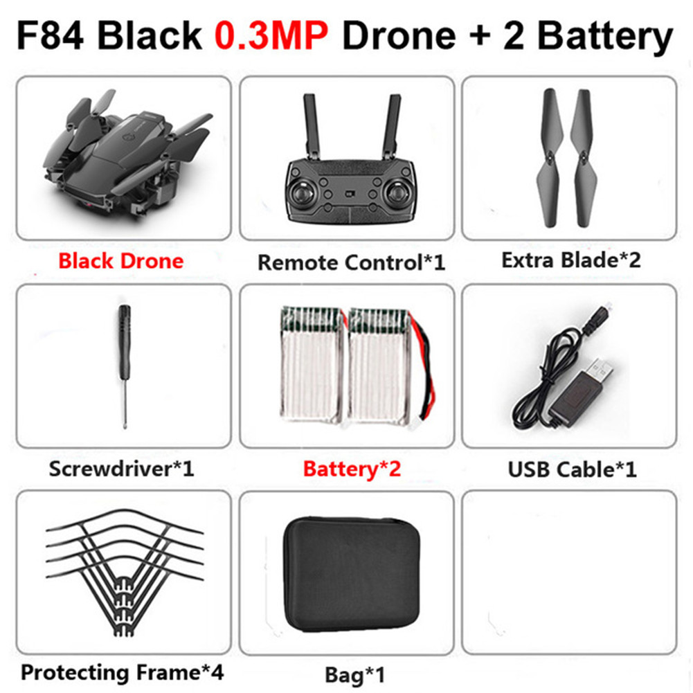 F84 Quadcopter Wireless RC Drone With 4K/5MP/0.3MP HD Camera WiFi FPV Helicopter Foldable Airplane For Children Gift Toy black_0.3MP 2B