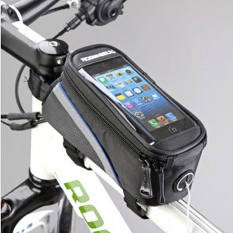 Waterproof Cycling Bike Bicycle Front Frame Tube Shock Absorption Padded Bag Case for Cell Phone Black blue side_4.2 inch