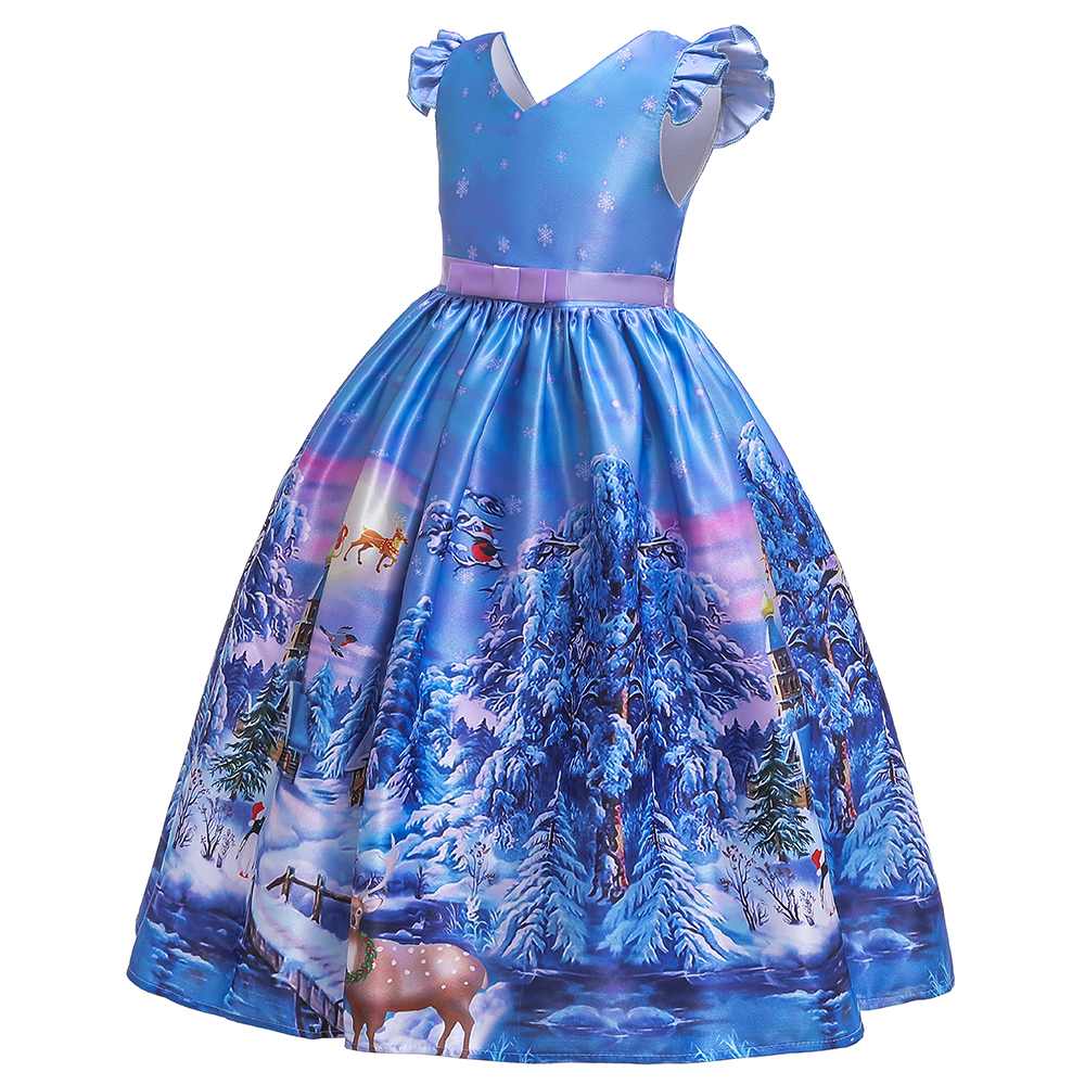 Kid Girl Christmas Dress Bowknot Santa Claus Snowman Short Sleeve Stripe Party Gown 055-blue_130cm