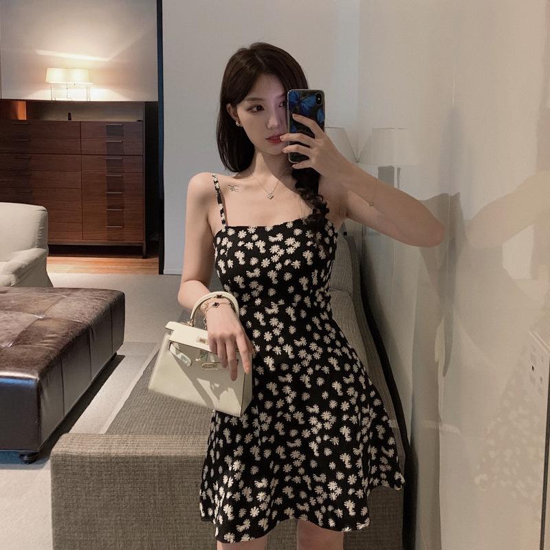 Women Sling Dress Daisy Print High Waist Slim Summer Lady Short A-line Dress black_XL